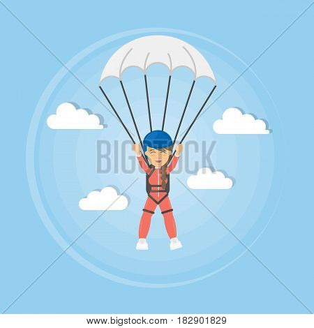 Skydiving active sport. Man in uniform with parachute.