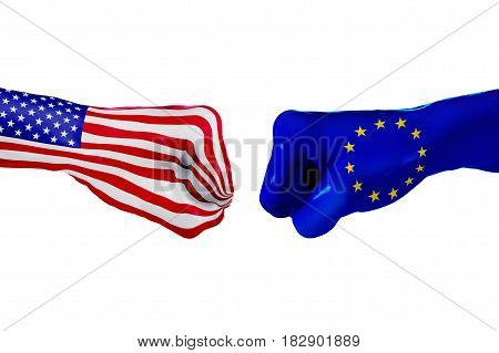 USA and European Union country flag. Concept fight war business competition conflict isolated on white, 3D illustration