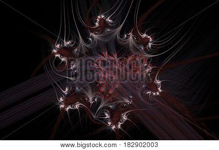 An abstract computer generated fractal design. Mysterious dark flower
