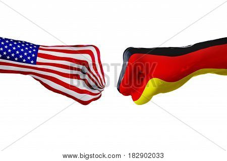 USA and Germany country flag. Concept fight war business competition conflict or sporting events isolated on white, 3D illustration