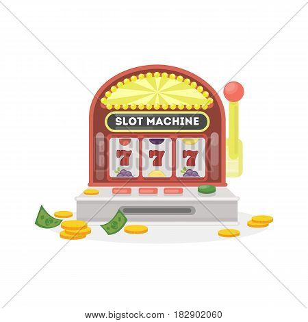 Isolated slot machine on white background. 777 with golden coins.