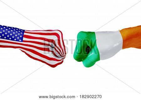 USA and Ireland country flag. Concept fight war business competition conflict or sporting events isolated on white, 3D illustration