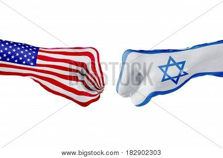 USA and Israel country flag. Concept fight war business competition conflict or sporting events isolated on white, 3D illustration