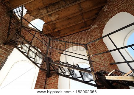 Orel Russia - April 20 2017: Orthodox bell-ringing festival. Bell tower windows and stairs inside