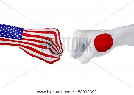 USA and Japan country flag. Concept fight war business competition conflict or sporting events isolated on white, 3D illustration