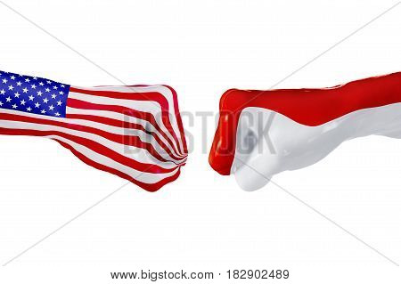 USA and Monaco country flag. Concept fight war business competition conflict or sporting events isolated on white, 3D illustration