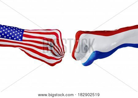 USA and Netherlands country flag. Concept fight war business competition conflict or sporting events isolated on white, 3D illustration