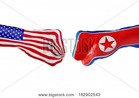 USA and North Korea country flag. Concept fight war business competition conflict or sporting events isolated on white, 3D illustration