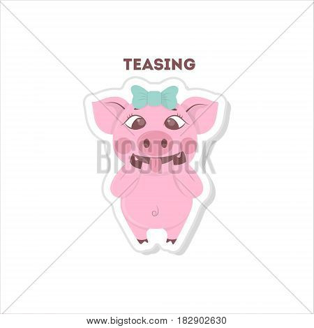 Cute teasing pig. Isolated sticker on white background.