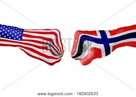 USA and Norway country flag. Concept fight war business competition conflict or sporting events isolated on white, 3D illustration