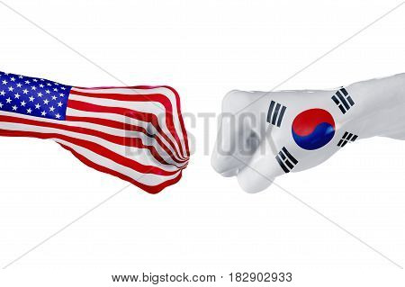 USA and South Korea country flag. Concept fight war business competition conflict or sporting events isolated on white, 3D illustration