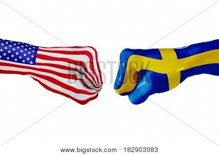 USA and Sweden country flag. Concept fight war business competition conflict or sporting events isolated on white, 3D illustration