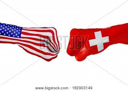 USA and Switzerland country flag. Concept fight war business competition conflict or sporting events isolated on white, 3D illustration