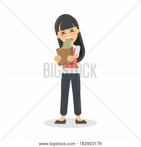 Isolated woman vomits. Cartoon character on white background.