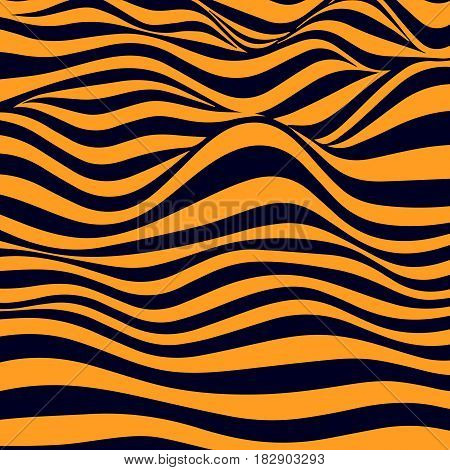 Abstract striped wavy background. Color curved lines. Vector illustration.