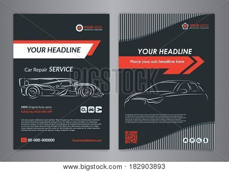 Automotive repair business layout templates automobile magazine cover auto repair shop brochure mockup flyer. Vector illustration.