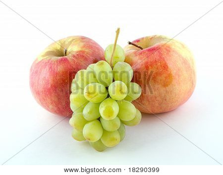 Two Apples And Green Grapes.