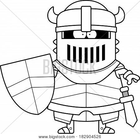 Cartoon Black Knight In Armor
