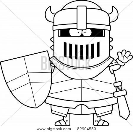 Waving Cartoon Black Knight