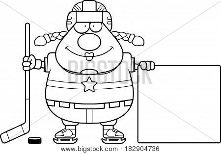 Cartoon Hockey Player Sign