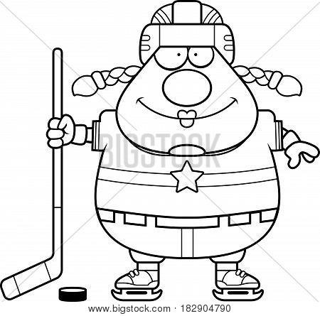 Smiling Cartoon Hockey Player
