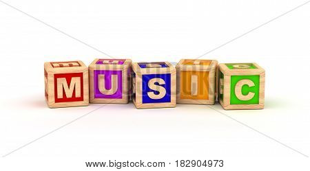 Music Text Cube (computer generated image) 3D Rendering