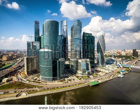 MOSCOW - AUGUST 21, 2016: Aerial view of Moscow-city (Moscow International Business Center) over Moskva River. Moscow-city is a modern commercial district in central Moscow.