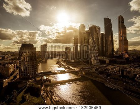 MOSCOW - AUGUST 25, 2016: Aerial view of Moscow-City (Moscow International Business Center) over Moskva River. Moscow-City is a modern commercial district in central Moscow.