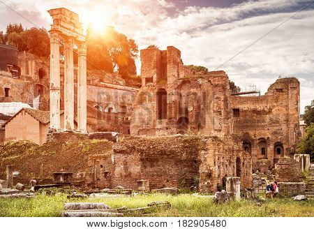 Ruins of the Roman Forum in summer, Rome, Italy. The Roman Forum is the remains of architecture of the Roman Empire and is one of the main tourist attractions of Rome.