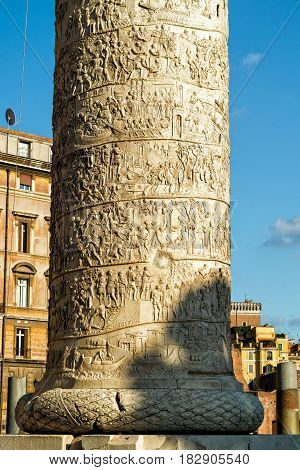 Detail of column of Trajan in Rome, Italy. The column is most famous for its spiral bas relief and is one of the most interesting ancient structures of Rome.