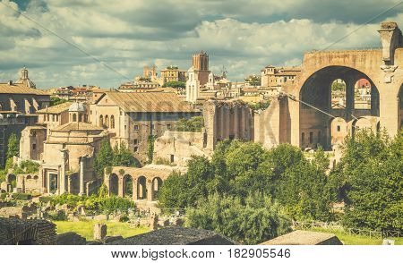 View of the Roman Forum in Rome, Italy. The Roman Forum is an important monument of antiquity and is one of the main tourist attractions of Rome.