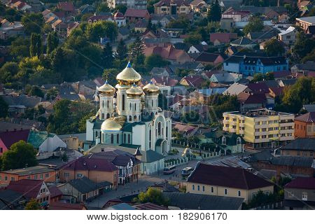 City Khust Zakarpattia Region Ukraine. View of the St.Cyril-Methodius Orthodox Cathedral and the roofs of houses from above.
