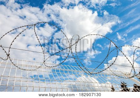 Barbed wire against the blue sky background. Protective fencing specially protected object of barbed wire