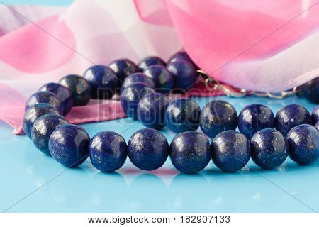 Beautiful High Grade Royal Blue Lapis Lazuli Beads On White Background