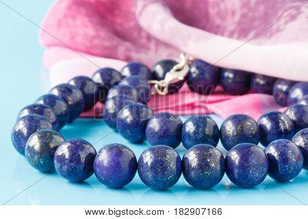 A String Of Round Lapis Lazuli Beads