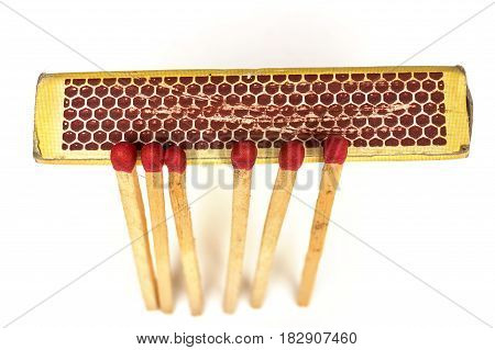 Matches lie against a matchbox, macro shot. Concept for igniting or example of phosphor .
