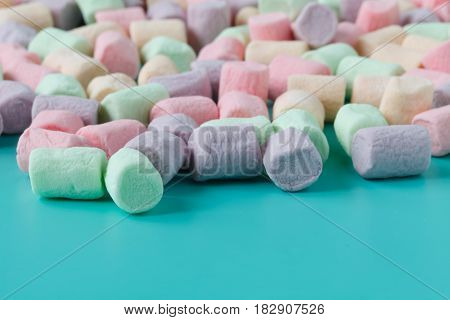A Pile Of Small Colored Puffy Marshmallows.