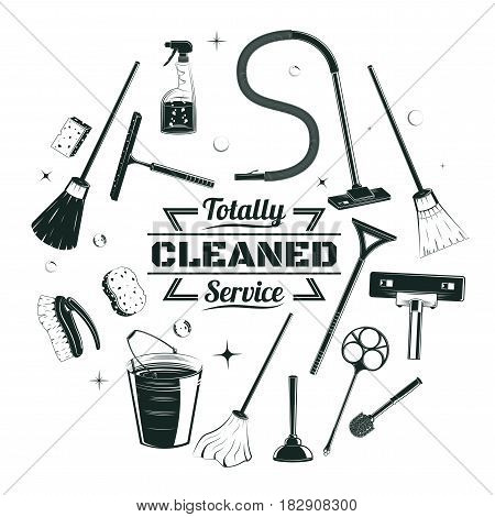 Sketch cleaning service elements round concept with housekeeping equipment and tools in vintage style isolated vector illustration
