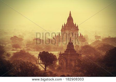 The Temples of Bagan Pagan Mandalay Myanmar. Morning light. BURMA