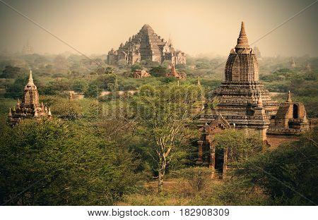 The Temples of Bagan Pagan Mandalay Myanmar. Pagoda landscape in the plain of Bagan Myanmar. BURMA