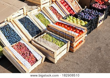 Fresh organic fruits and vegetables for sale at the farmers market