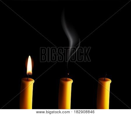 Realistic candle with fire, extinguished candle with smog and the candle-end isolated on black background. Vector illustration.