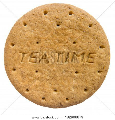 Isolated British Biscuit With Tea Time Engraved
