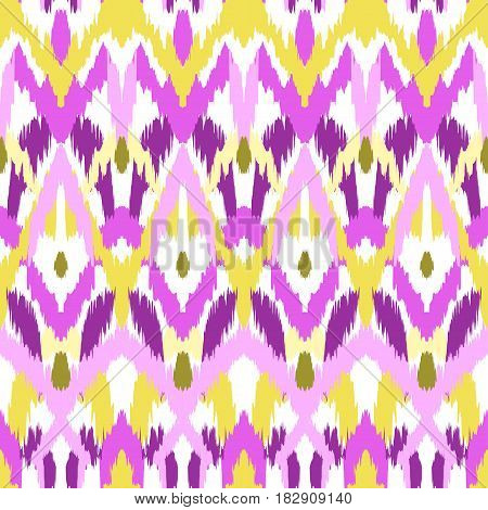 Abstract background. Vector illustration of colorful ikat seamless pattern.