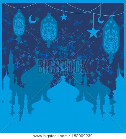 Ramadan background - mosque  , vector illustration card