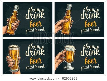 Female and male hands holding open beer bottles and glass. Born to drink beer forced to work lettering. Vintage vector color engraving illustration for poster, invitation. Isolated on dark background