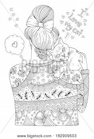 Vector hand drawn young girl in a patterned sweater stands with her back and hugs a cat. Pattern page for coloring book A4 size I love my cat. Isolated on white background