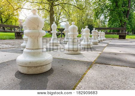 Chess Pieces Board Outdoors Squares Park Large Strategy Asphalt