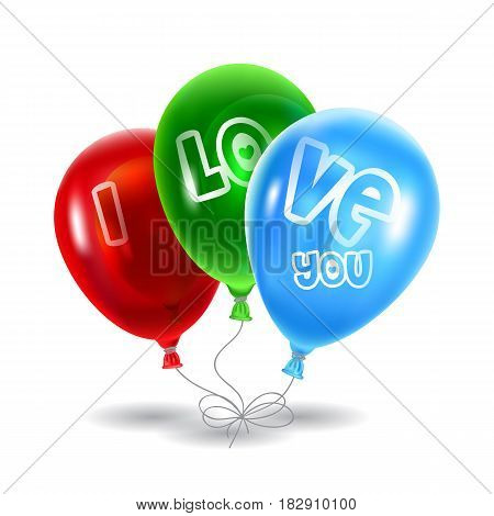Red , green and blue balloons on a white background