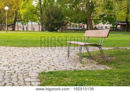 Empty Park Bench Green Grass Trees Outdoors Spring Day Warm